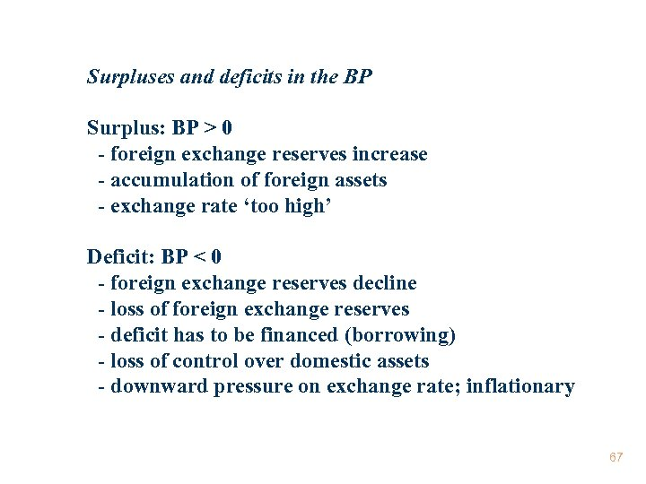 Surpluses and deficits in the BP Surplus: BP > 0 - foreign exchange reserves