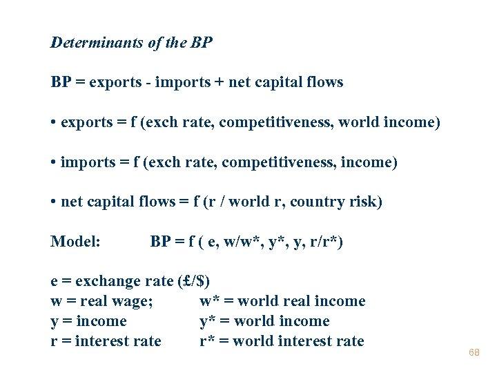Determinants of the BP BP = exports - imports + net capital flows •