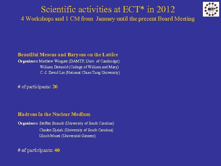 Scientific activities at ECT* in 2012 4 Workshops and 1 CM from January until