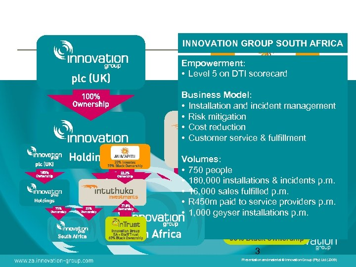 INNOVATION GROUP SOUTH AFRICA Empowerment: • Level 5 on DTI scorecard Business Model: •