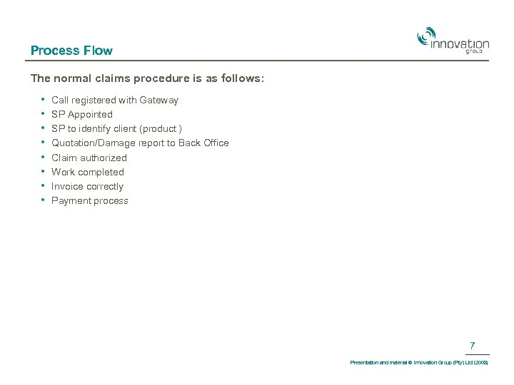 Process Flow The normal claims procedure is as follows: • • Call registered with