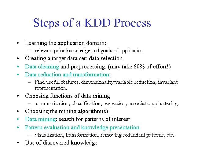 Steps of a KDD Process • Learning the application domain: – relevant prior knowledge