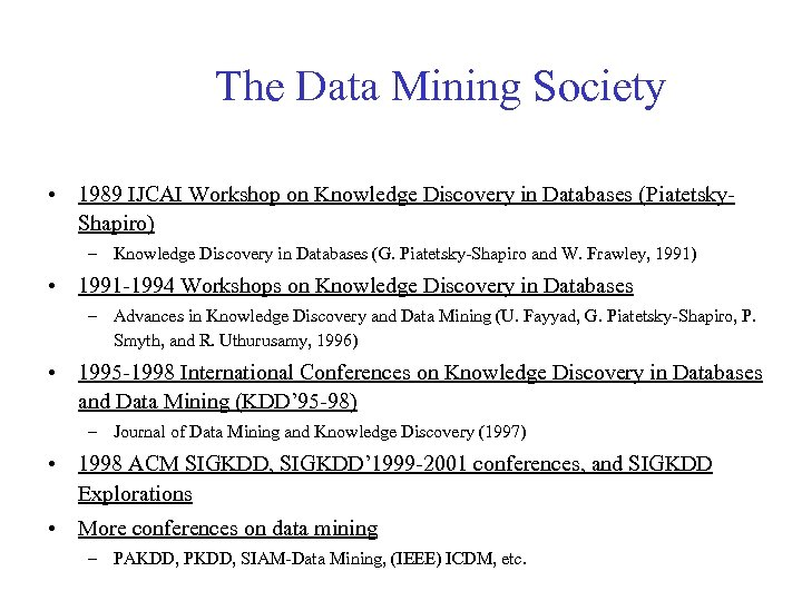 The Data Mining Society • 1989 IJCAI Workshop on Knowledge Discovery in Databases (Piatetsky.