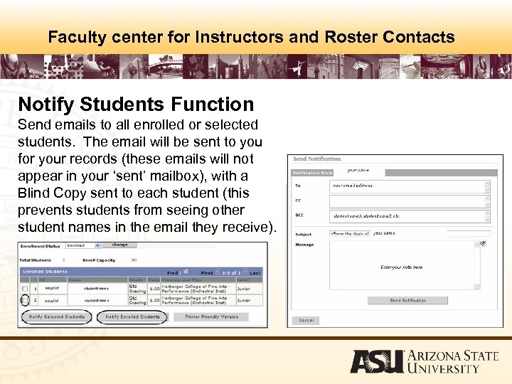 Faculty center for Instructors and Roster Contacts Notify Students Function Send emails to all