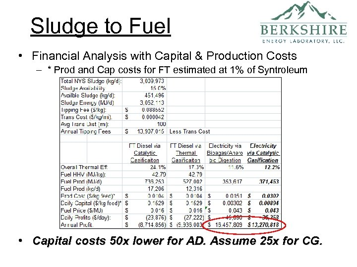 Sludge to Fuel • Financial Analysis with Capital & Production Costs – * Prod