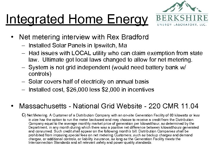 Integrated Home Energy • Net metering interview with Rex Bradford – Installed Solar Panels