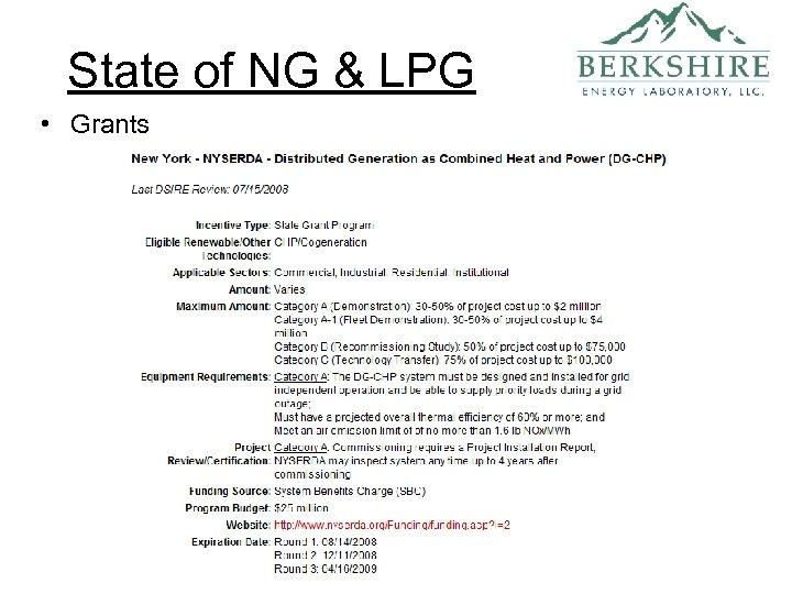 State of NG & LPG • Grants