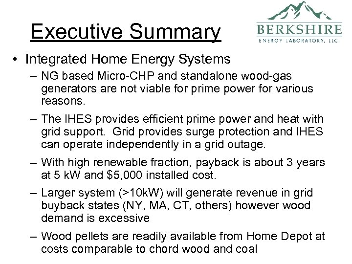 Executive Summary • Integrated Home Energy Systems – NG based Micro-CHP and standalone wood-gas