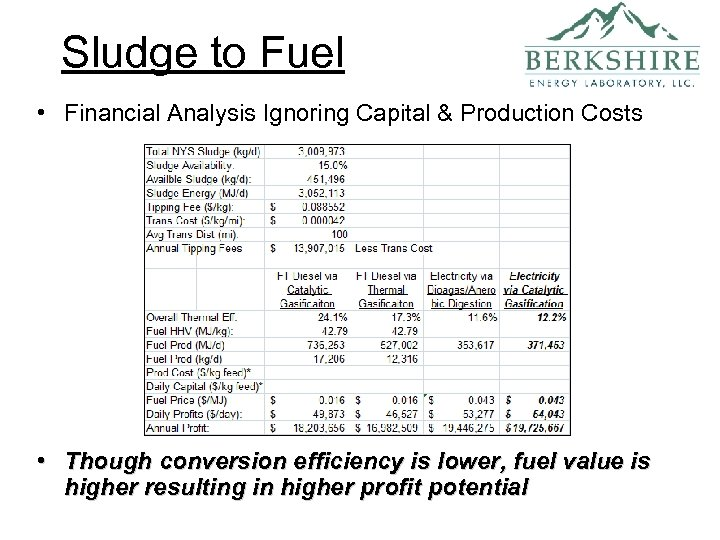 Sludge to Fuel • Financial Analysis Ignoring Capital & Production Costs • Though conversion