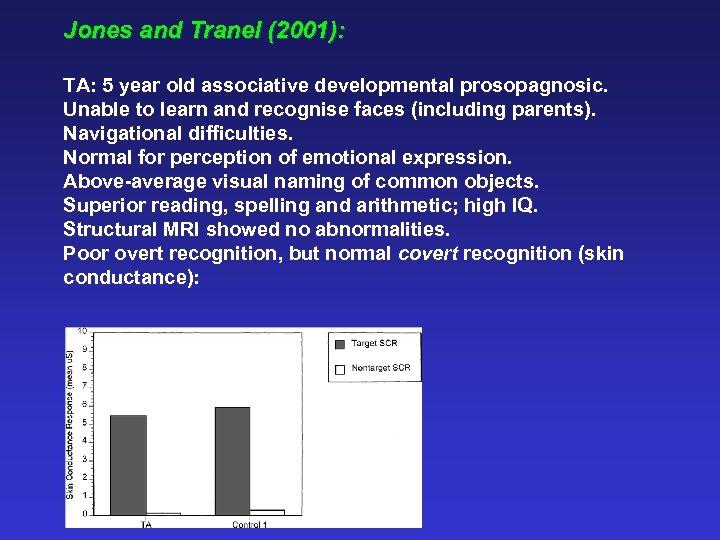 Jones and Tranel (2001): TA: 5 year old associative developmental prosopagnosic. Unable to learn