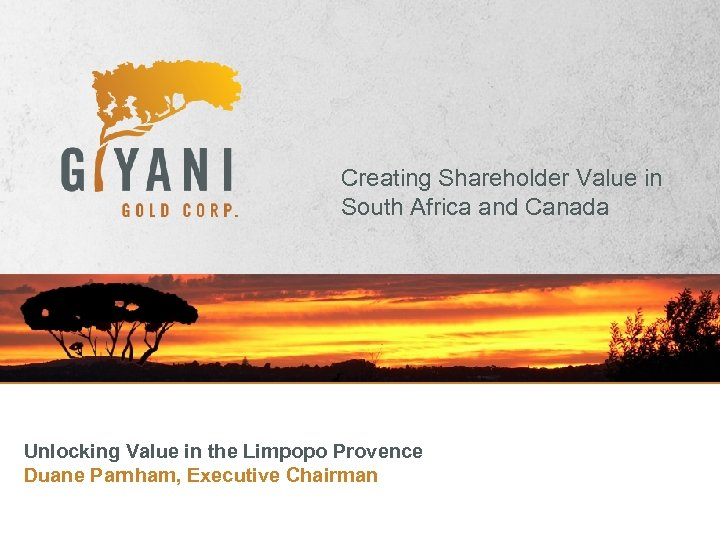 Creating Shareholder Value in South Africa and Canada Unlocking Value in the Limpopo Provence