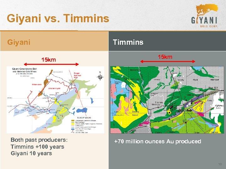 Giyani vs. Timmins Giyani Timmins 15 km Both past producers: Timmins +100 years Giyani
