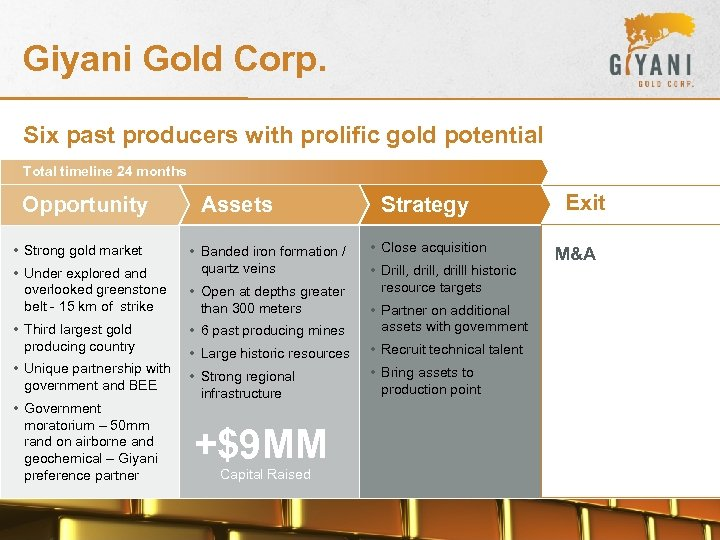 Giyani Gold Corp. Six past producers with prolific gold potential Total timeline 24 months