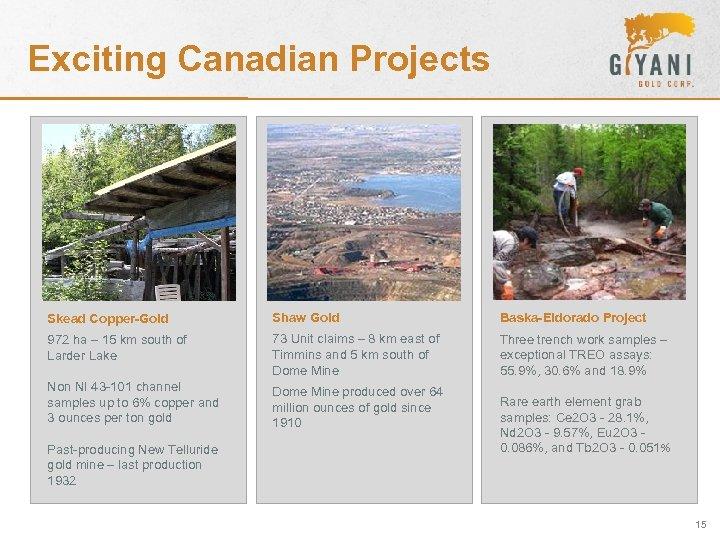 Exciting Canadian Projects Skead Copper-Gold Shaw Gold Baska-Eldorado Project 972 ha – 15 km