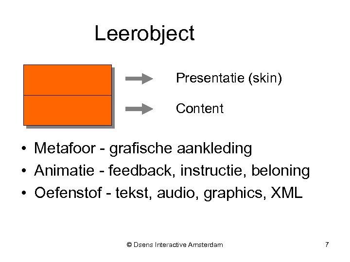 Leerobject Presentatie (skin) Content • Metafoor - grafische aankleding • Animatie - feedback, instructie,