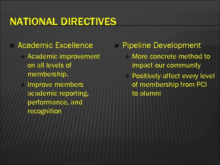 NATIONAL DIRECTIVES Academic Excellence Academic improvement on all levels of membership. Improve members academic