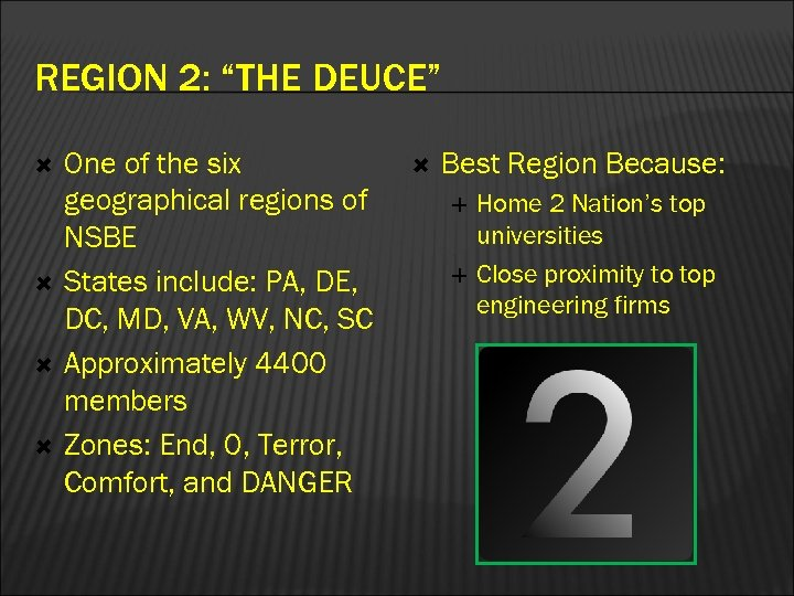 """REGION 2: """"THE DEUCE"""" One of the six geographical regions of NSBE States include:"""