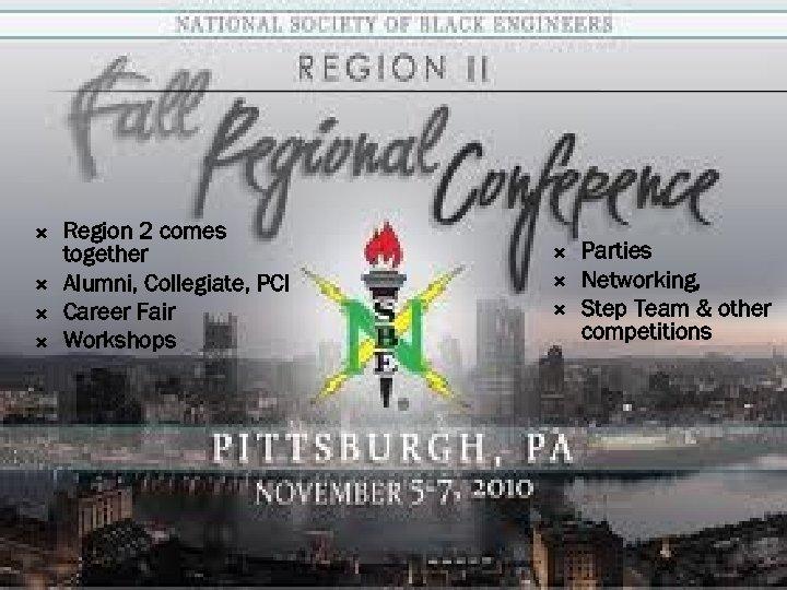 Region 2 comes together Alumni, Collegiate, PCI Career Fair Workshops Parties Networking, Step