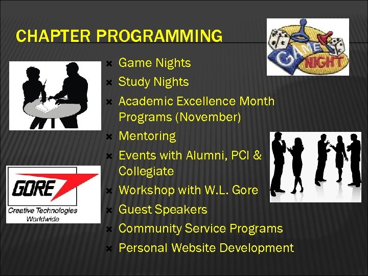 CHAPTER PROGRAMMING Game Nights Study Nights Academic Excellence Month Programs (November) Mentoring Events with