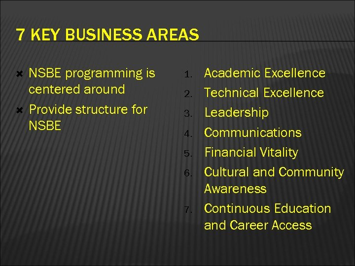 7 KEY BUSINESS AREAS NSBE programming is centered around Provide structure for NSBE 1.
