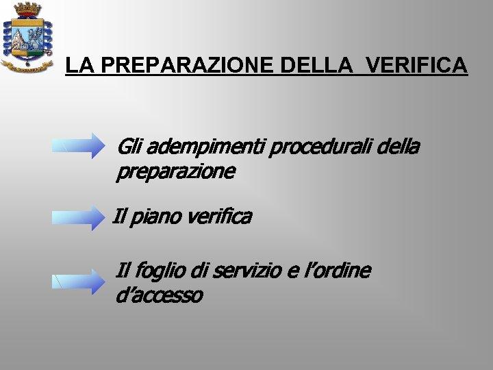 LA PREPARAZIONE DELLA VERIFICA Gli adempimenti procedurali della preparazione Il piano verifica Il foglio