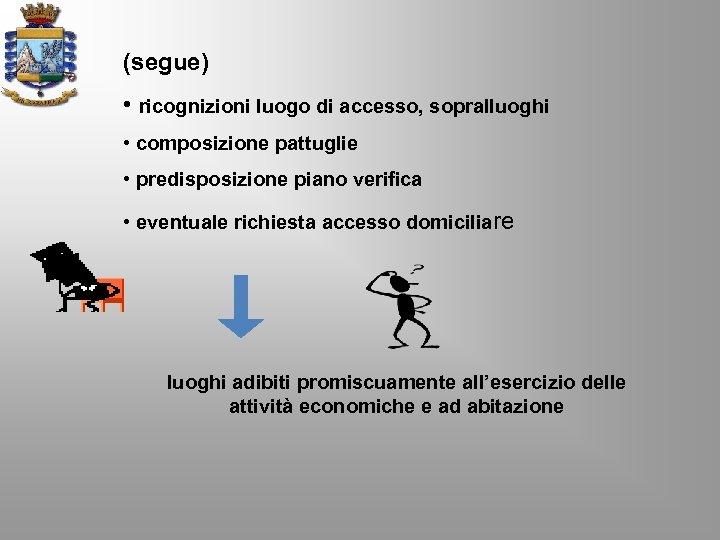 (segue) • ricognizioni luogo di accesso, sopralluoghi • composizione pattuglie • predisposizione piano verifica