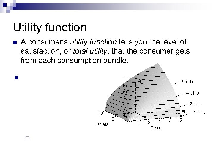 Utility function n A consumer's utility function tells you the level of satisfaction, or