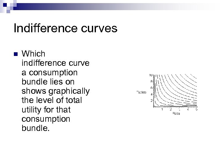 Indifference curves n Which indifference curve a consumption bundle lies on shows graphically the