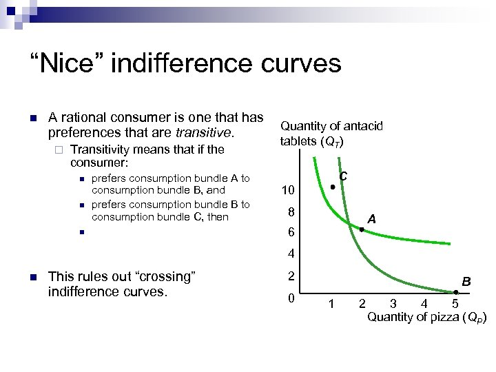 """Nice"" indifference curves n A rational consumer is one that has preferences that are"