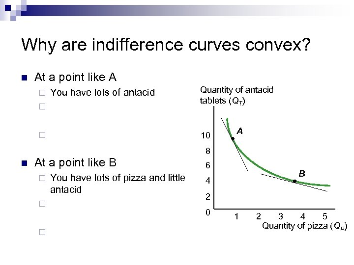 Why are indifference curves convex? n At a point like A ¨ You have