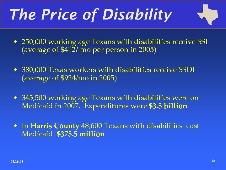 The Price of Disability • 250, 000 working age Texans with disabilities receive SSI