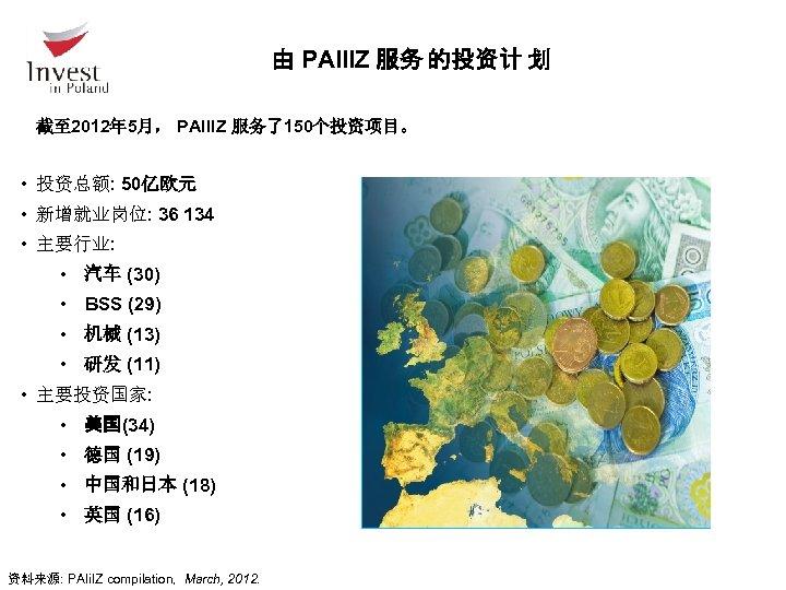 由 PAIIIZ 服务 的投资计 划 截至 2012年 5月, PAIIIZ 服务了150个投资项目。 • 投资总额: 50亿欧元 •