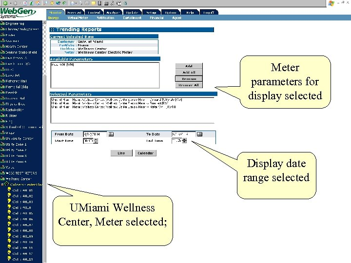 Meter parameters for display selected Display date range selected UMiami Wellness Center, Meter selected;