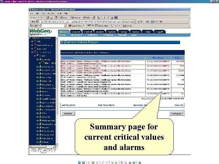 Summary page for current critical values and alarms