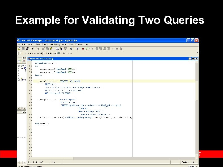 Example for Validating Two Queries