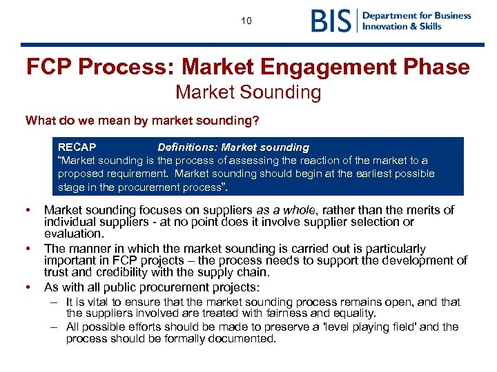 10 FCP Process: Market Engagement Phase Market Sounding What do we mean by market