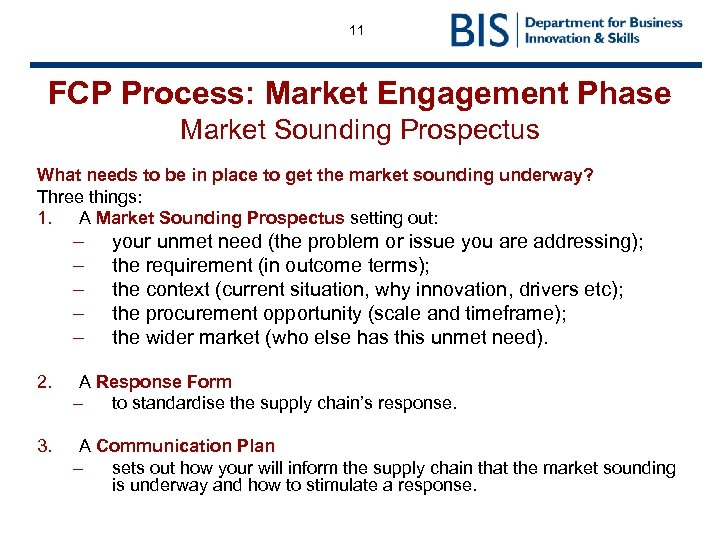 11 FCP Process: Market Engagement Phase Market Sounding Prospectus What needs to be in