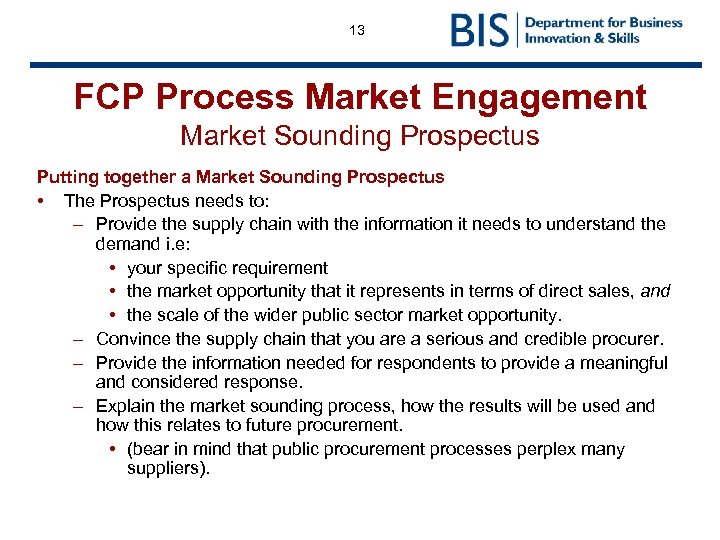 13 FCP Process Market Engagement Market Sounding Prospectus Putting together a Market Sounding Prospectus