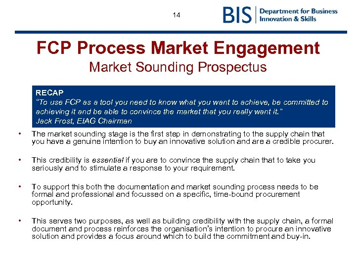 "14 FCP Process Market Engagement Market Sounding Prospectus RECAP ""To use FCP as a"