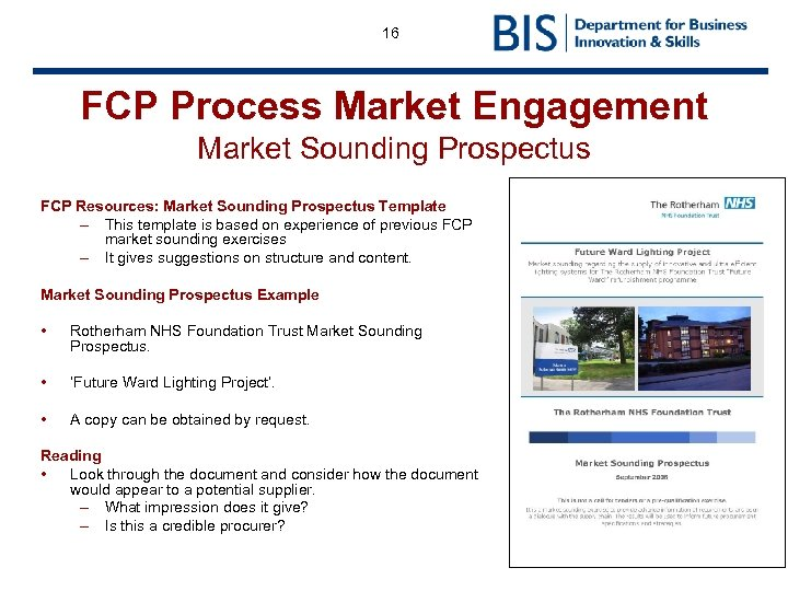 16 FCP Process Market Engagement Market Sounding Prospectus FCP Resources: Market Sounding Prospectus Template