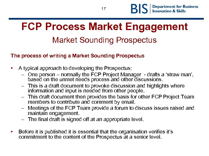17 FCP Process Market Engagement Market Sounding Prospectus The process of writing a Market