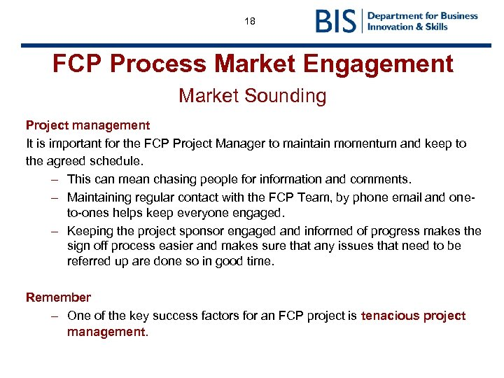 18 FCP Process Market Engagement Market Sounding Project management It is important for the