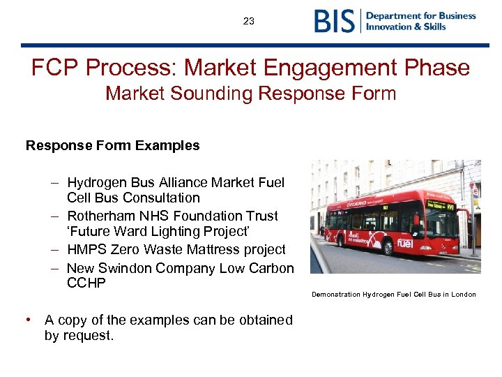 23 FCP Process: Market Engagement Phase Market Sounding Response Form Examples – Hydrogen Bus