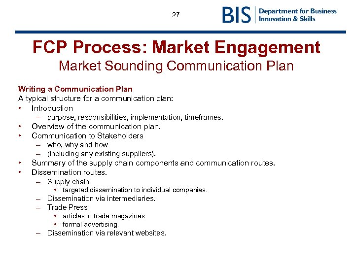27 FCP Process: Market Engagement Market Sounding Communication Plan Writing a Communication Plan A