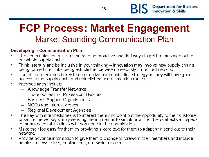 28 FCP Process: Market Engagement Market Sounding Communication Plan Developing a Communication Plan •
