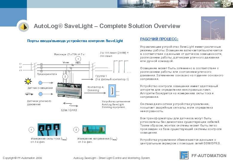 Auto. Log® Save. Light – Complete Solution Overview РАБОЧИЙ ПРОЦЕСС: Порты ввода/вывода устройства контроля