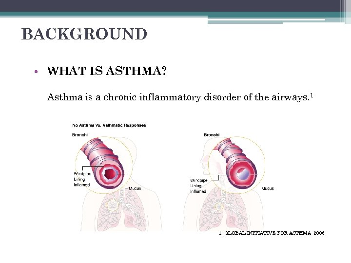 BACKGROUND • WHAT IS ASTHMA? Asthma is a chronic inflammatory disorder of the airways.