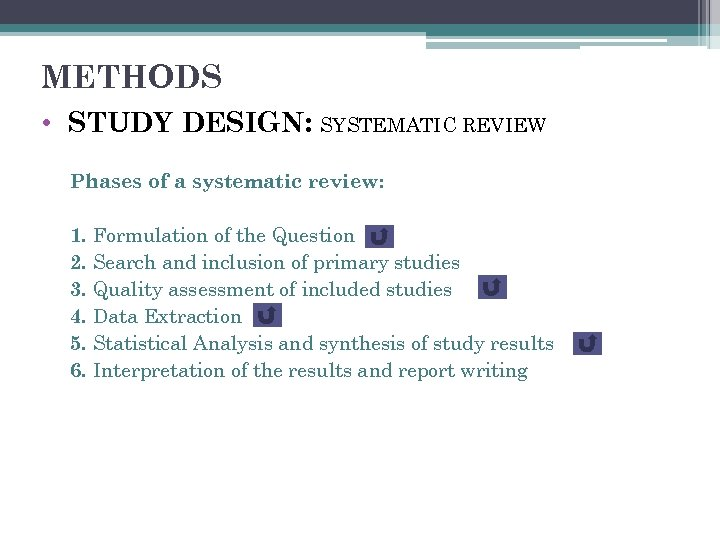 METHODS • STUDY DESIGN: SYSTEMATIC REVIEW Phases of a systematic review: 1. Formulation of