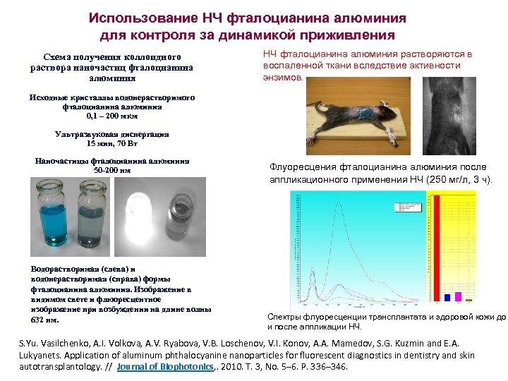 Использование НЧ фталоцианина алюминия для контроля за динамикой приживления Схема получения коллоидного раствора наночастиц