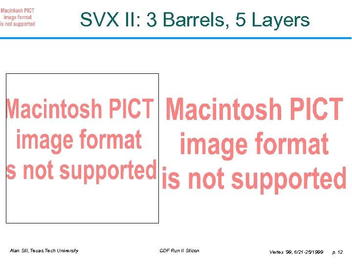 SVX II: 3 Barrels, 5 Layers Alan Sill, Texas Tech University CDF Run II
